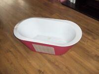 baby hop pop bath tub cerise pink and white.