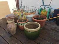 Plant pots and wire hanging baskets