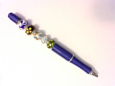 Fancy Artistic Pen - Lampwork Beads - Customizable by You - Blue - Customizable Pens
