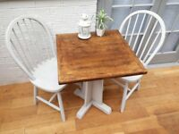 Lovely Bistro/Cafe Dining Table, Solid Oak and 2 x Chairs. Chalk Paint. Upcycled/Shabby Chic.