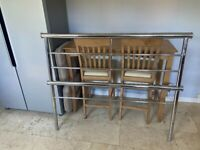 Chrome Double Bed Frame with base