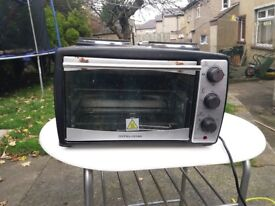 Andrew james mini oven and grill with double hotplate