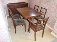 Mahogany Extending Dining Table, Chairs and Sideboard