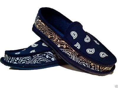 Navy Blue Bandana House Shoes Slippers Trooper Brand New Size 8 9 10 11 12 13