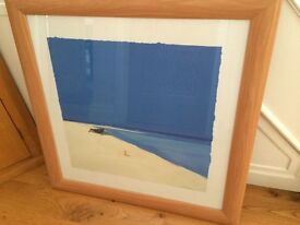 Large picture. Beautiful beach scene. 90 x 90cm in a pine coloured frame. Thank you for looking.