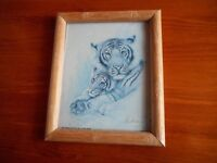 Small Tiger Drawing in Frame with Glass