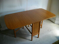 Schreiber drop-leaf wood dining table