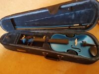 Rainbow Violin 3/4 size in Electric Blue