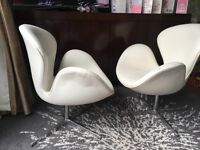 2 X WHITE LEATHER SWIVEL SWAN CHAIRS