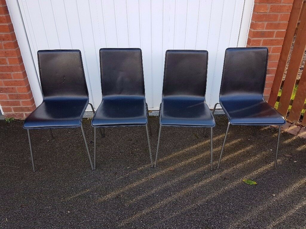 4 Black Leather Chrome Chairs FREE DELIVERY 714