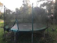 14ft tp trampoline with side net and steps