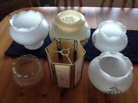 5 glass 1970s lampshades