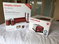 Morphy Richards Accents Red Toaster and Kichen storage set