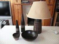 NEXT TABLE LAMP , DISH, CANDLE, VASES x2