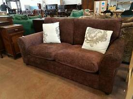 Modern brown fabric two seater sofa