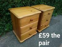 Solid pine bedside chest cabinet