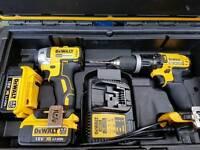 As new Dewalt DCK255M2 Brushless Impact + Hammer Drill with 2 x 4.0Ah Batt Charger Case
