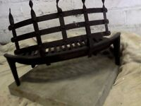 vintage large fire basket and iron guard