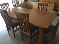Solid Birch dining table, 6 chairs and sideboard