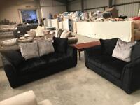 New 3 + 2 black crushed velvet sofa suite