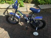 Boys blue bike for sale with stabilisers