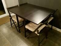 Ikea Barsviken folding dining table and 4 Terje folding chairs