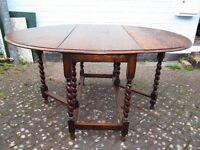Large Antique Oak Gateleg drop-leaf dining table