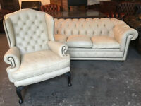 Cream leather 3 seater Chesterfield sofa...matching wingback available