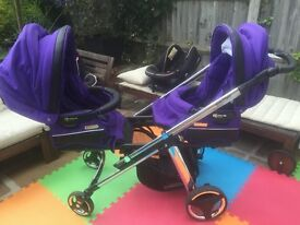 Double/Single Tandem Stroller and Deluxe Car seats