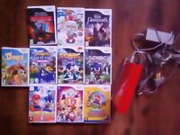 FOR SALE red nintendo wii,2 controllers& 10 games