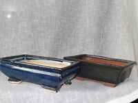 x2 Glazed Bonsai Pots - Deep Blue & Deep Green.