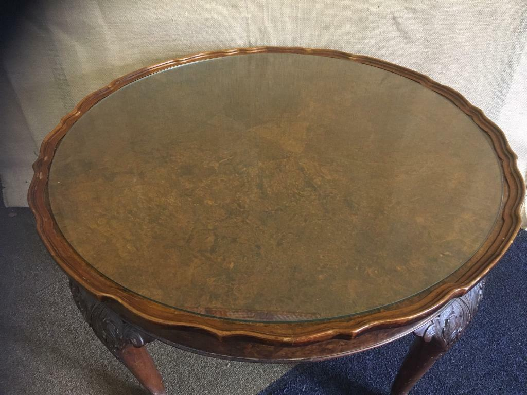 antique walnut coffee table lion paw feet glass top in