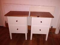 White & Natural Wood Bedside tables - URGENT