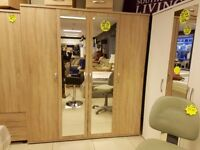 FOUR DOOR MIRRORED MAPLE WOOD EFFECT WARDROBE CALLED 'REGAL' FROM SOUTHCOAST FURNITURE