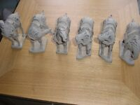 Six small collectable ceramic ancient Chinese style horses.