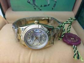 New Swiss Ladies Rolex Oyster Datejust Perpetual Automatic Watch, Golden Case