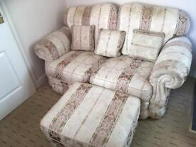 2 seater sofa with foot stool