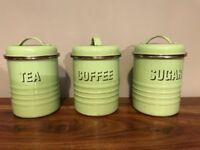 Typhoon Green Enamel tea/coffee/sugar canisters