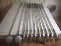 Set of Wilson Prostaff golf clubs c/w Daiwa bag with cover.