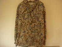 Ladies Silk oversize shirt by Regina Porter with zebra & camo leaves print size S