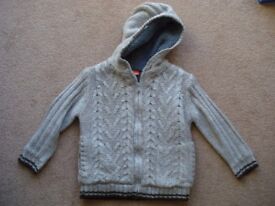 Lined hooded grey/brown cardigan 4 years (brand Duck & Dodge)