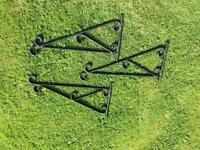 Wrought iron black hanging basket brackets