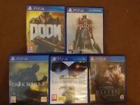 PS4 5 GAMES EXCELLENT CONDITION - BLOODBORNE - DOOM-DARK SOULS 3- KILLZONE- LORDS OF THE FALLEN