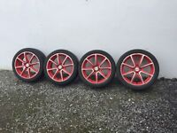 """Renault Clio/Megane 17"""" Red Alloys with good 205/45R17 Tyres"""