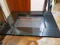 Gas fire flueless black L80cm W57cm D18cm granite