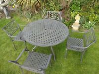 LARGE GARDEN FURNITURE SET --TABLE AND 4 CARVER CHAIRS --HEAVY CAST ALUMINIUM --