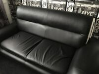 Leather 3 and 2 seater sofas
