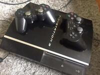 Play Station 3 console and 2 x controllers