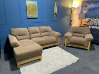 Tan brown fabric suite corner chaise sofa and armchair