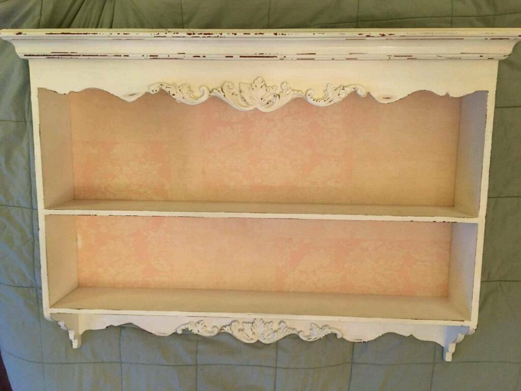 Shabby Chic Vintage Ornate Wall Shelf Unit Antique White Soft Pink